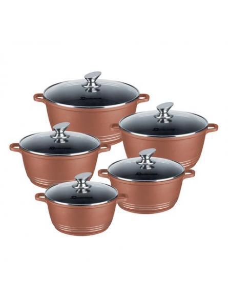 NEA 5pc Die-cast Non-Stick Stockpot Set with Lids 20-32cm Copper Colour
