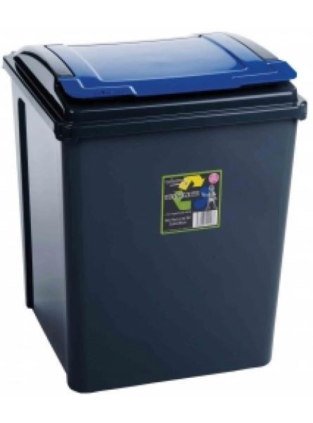 50Ltr Recycling Bin Grapite Body and Blue Lid