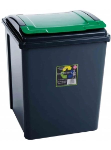 50Ltr Recycling Bin Grapite Body and Green Lid