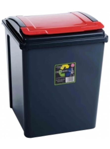50Ltr Recycling Bin Grapite Body and Red Lid