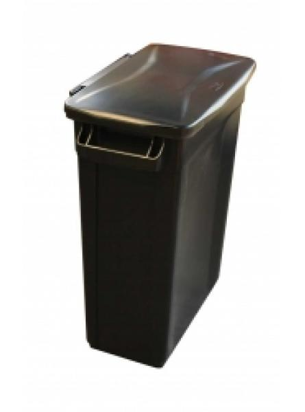 60l Container Black Base with Hinged Black Lid