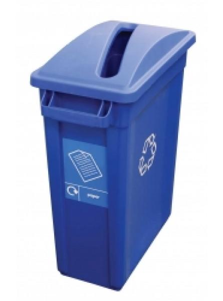 60l Container Blue Recycling Bin with Paper Lid