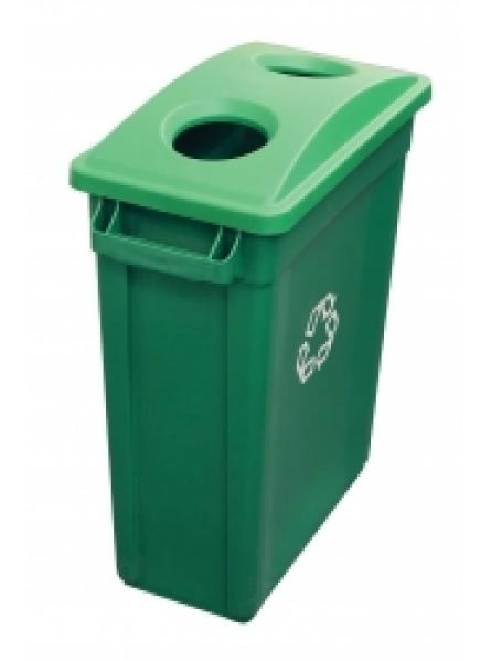 87l Container Green Recycling Bin with 2 Hole Slimline Lid