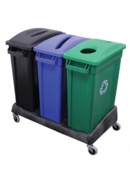 87l Containers in Black, Green and Blue Complete with Triple Dolly