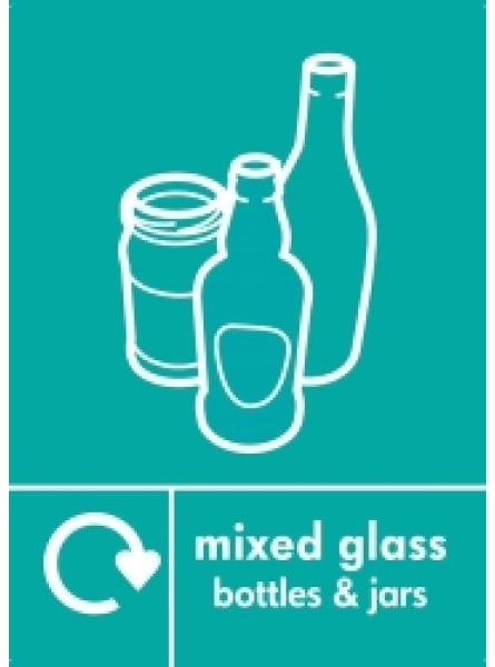 MIXED GLASS BOTTLES AND JARS LABEL BLUE