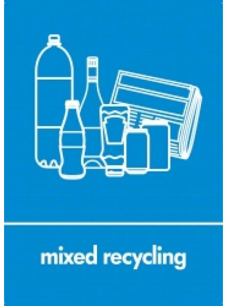 MIXED RECYCLING LABEL BLUE