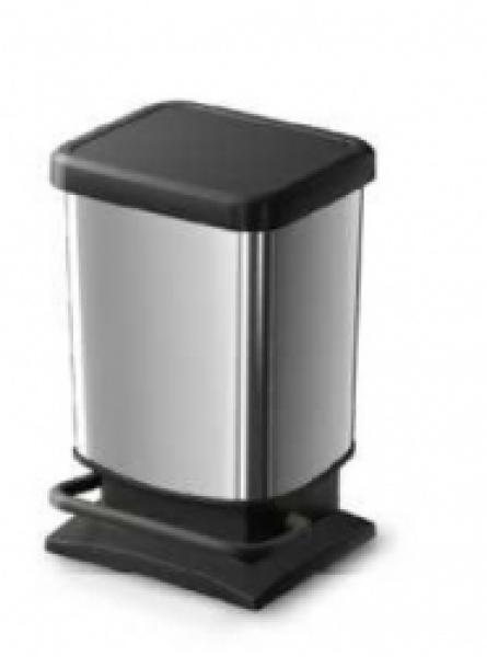 40 LTR PASO PLASTIC PEDAL BIN METALLIC SILVER