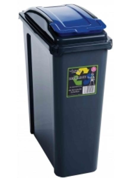 25ltr Slimline Recycling Bin Graphite Body and Blue Lid