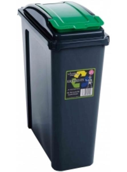 25ltr Slimline Recycling Bin Graphite Body and Green Lid