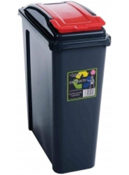 25ltr Slimline Recycling Bin Graphite Body and Red Lid
