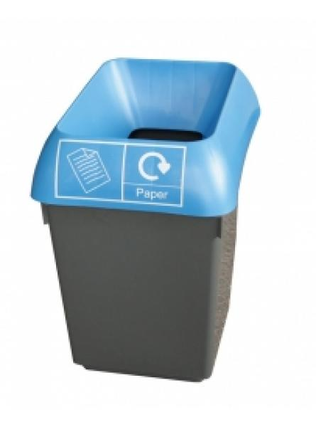 30LTR RECY BIN COMPLETE WITH BLUE LID AND PAPER LOGO