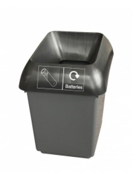 30ltr Recycling Bin Comp With Blk Lid And Batteries Logo