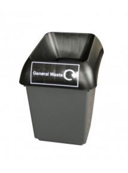 30ltr Recycling Bin Comp With Blk Lid And General Waste Logo