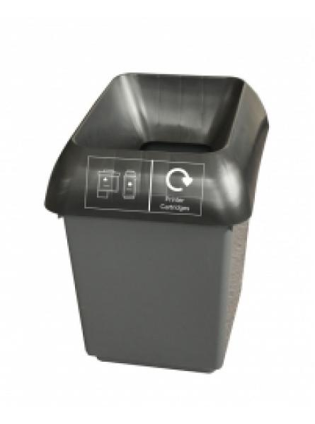 30ltr Recycling Bin Comp With Blk Lid And Printer Cartr Logo