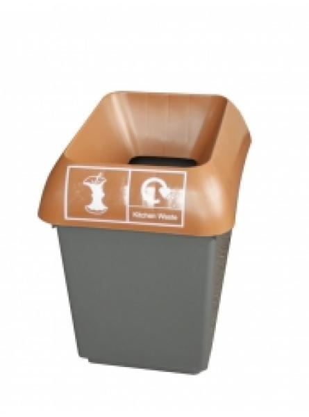 30ltr Recycling Bin Comp With Brown Lid And Kitchen Waste Logo
