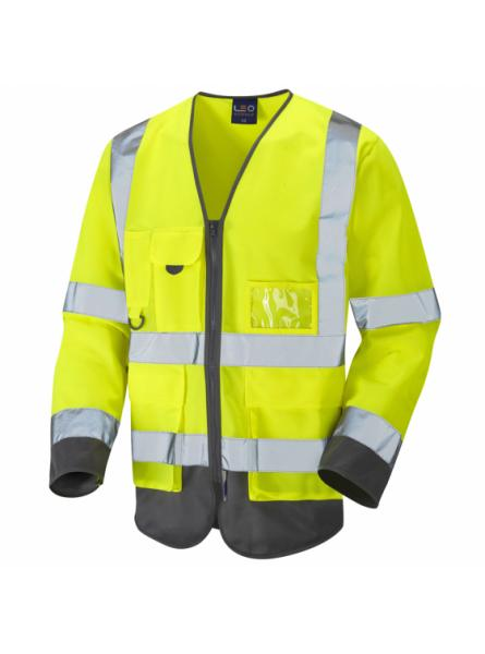 Wrafton ISO 20471 Class 3 Sleeved Superior Waistcoat Yellow/Grey