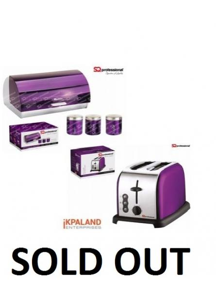 Matching Kitchen Set of Three items: Electric Kettle, Bread Bin and Canisters and Two Slice Toaster in Purple. (IKP4982)