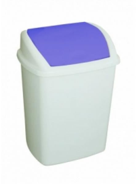 50 Litre Swing Top Bin, Blue Lid White Body