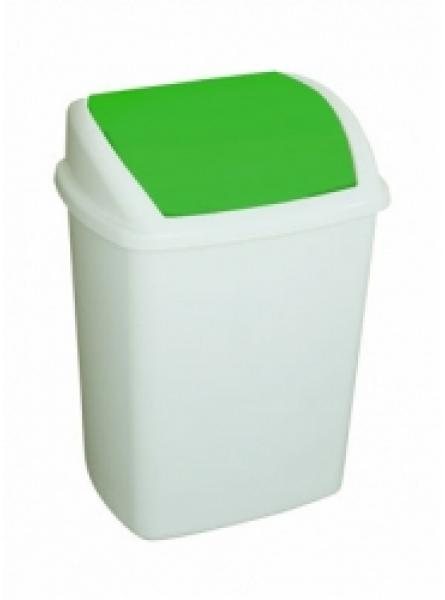 50 Litre Swing Top Bin, Green Lid White Body