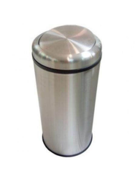 50 Litre S/Steel Swing Lid Bin Satin Finish C/W Galv. Liner