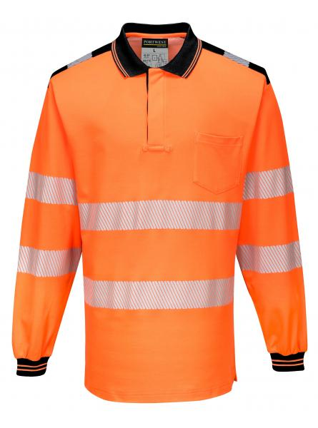 T184 > PW3 Hi-Vis Polo Shirt L/S- Orange/Black
