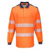 T184 > PW3 Hi-Vis Polo Shirt L/S- Orange/Navy