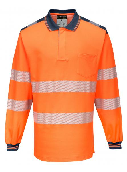 T184 > PW3 Hi-Vis Polo Shirt L/S- Orange/Navy