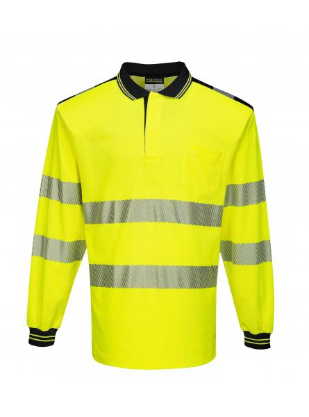 T184 > PW3 Hi-Vis Polo Shirt L/S- Yellow/Black