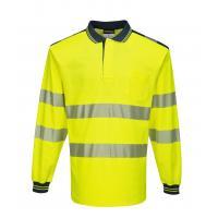 T184 > PW3 Hi-Vis Polo Shirt L/S- Yellow/Navy