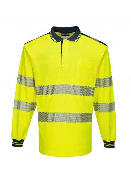 T184 > PW3 Hi-Vis Polo Shirt L/S- Yellow/Navy