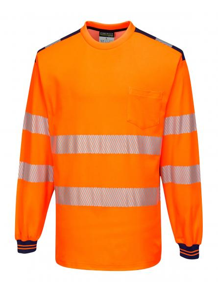 T185 > PW3 Hi-Vis T-Shirt L/S > Orange/Navy