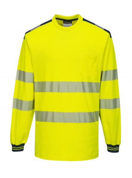 T185 > PW3 Hi-Vis T-Shirt L/S > Yellow/Navy