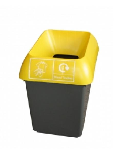 30ltr Recycling Bin Comp With Yellow Lid And Textiles Logo