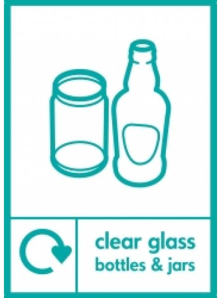 CLEAR GLASS BOTTLES AND JARS LABEL IN CLEAR AND GREEN GRAPHIC