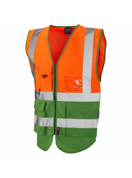 Lynton ISO 20471 Class 1 Superior Waistcoat Orange/Green