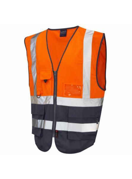 Lynton ISO 20471 Class 1 Superior Waistcoat Orange/Navy
