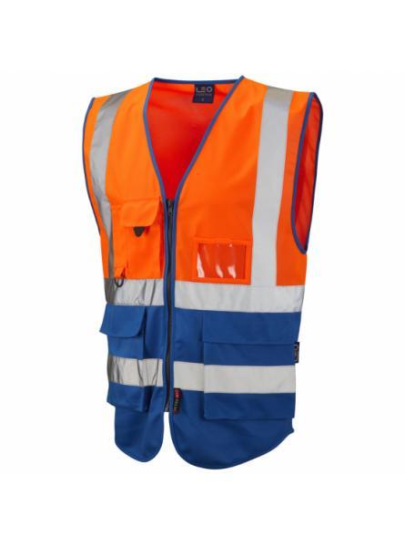 Lynton ISO 20471 Class 1 Superior Waistcoat Orange/Royal