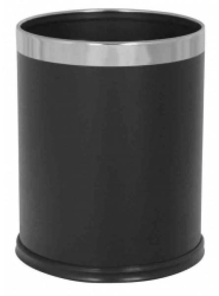 10L Round Waste Bin Black Leather Finish