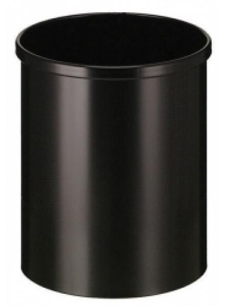 15 Litre Waste Basket, Circular, Steel, Black