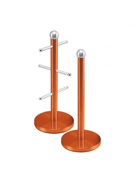 Mug Tree And Kitchen Roll Holder Stand Set In Amber