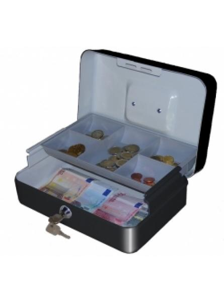 Black Cash Box with Lock and Integral Coin Tray