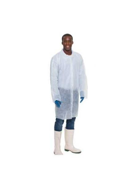 Coat Disposable Cater Safe Non Woven White Size:M L XL