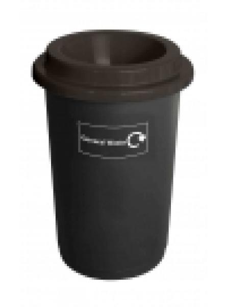 50L ROUND RECYCLING BIN BLACK BASE BLACK LID AND STICKERS