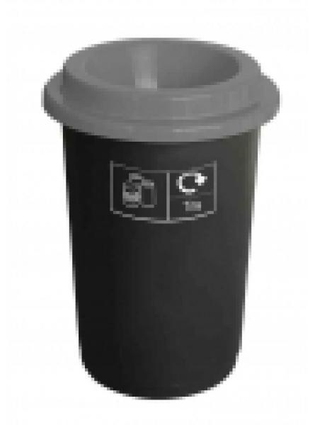 50L ROUND RECYCLING BIN BLACK BASE GREY LID AND STICKERS