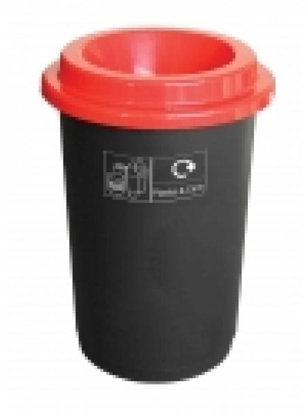 50L ROUND RECYCLING BIN BLACK BASE RED LID AND STICKERS