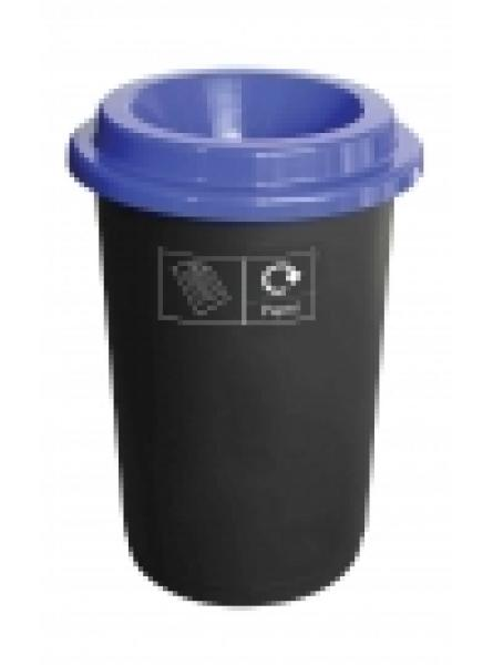 50L ROUND RECYCLING BIN BLACK BASE WITH BLUE LID AND STICKERS