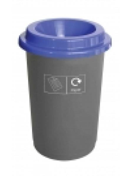 50L ROUND RECYCLING BIN BLACK BASE WITH BLUE LID STICKERS