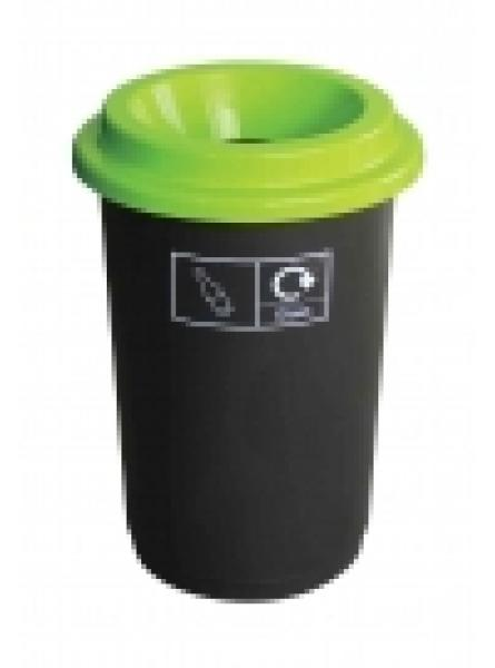 50L ROUND RECYCLING BIN BLACK BASE WITH LIME LID AND STICKERS