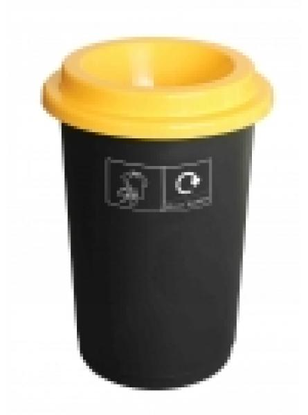 50L ROUND RECYCLING BIN BLACK BASE YELLOW LID AND STICKERS