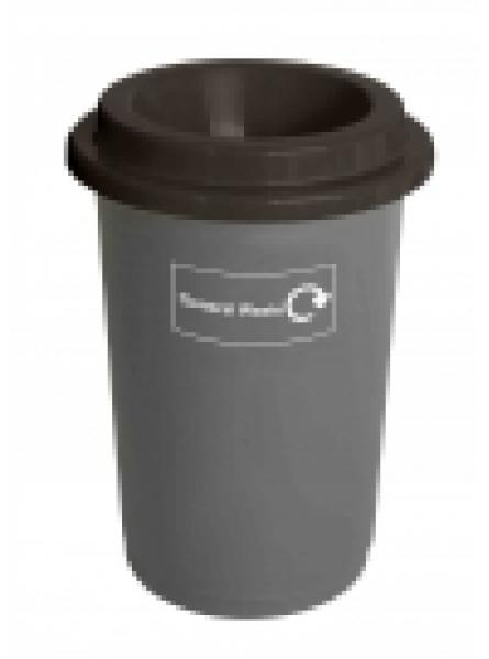 50L ROUND RECYCLING BIN GREY BASE BLACK LID AND STICKERS